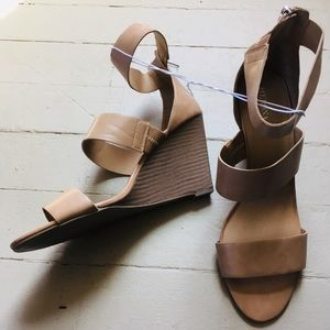 Tan Strappy Wedge Heels for Summer